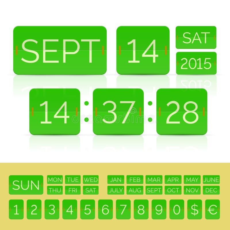 Calendario verde di vibrazione con il temporizzatore piano di conto alla rovescia con i numeri isolato illustrazione vettoriale