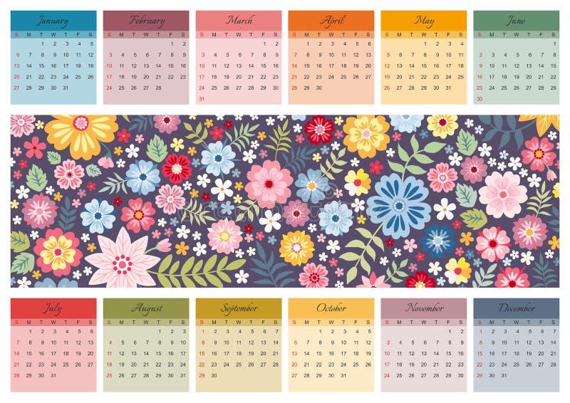 Calendario vibrante per 2019 anni Modello di vettore con il modello floreale ditsy con i fiori variopinti svegli illustrazione di stock