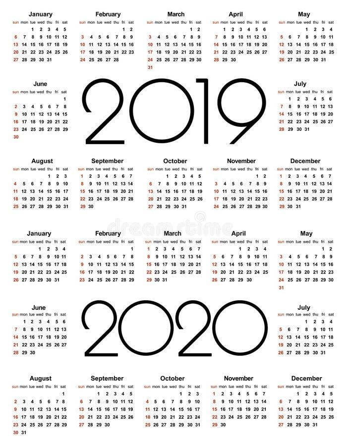 Calendario 2019 y 2020 años Plantilla simple del vector Plantilla del diseño de los efectos de escritorio Diseño del calendario e stock de ilustración