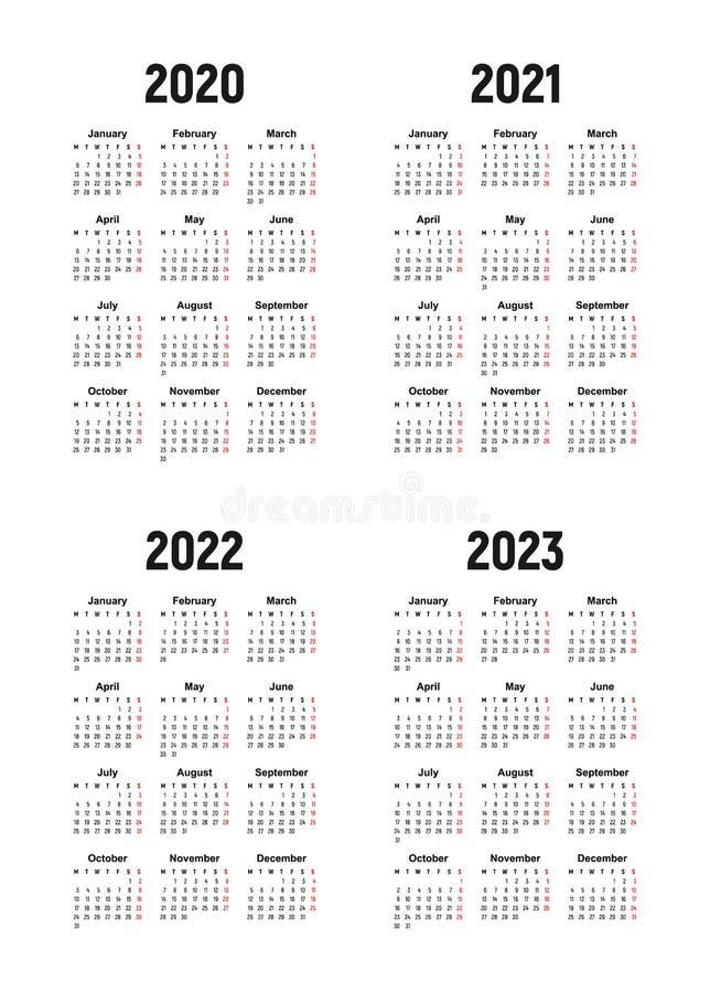 Calendario 2020, 2021, 2022 y 2023, comienzo de la semana el lunes ilustración del vector