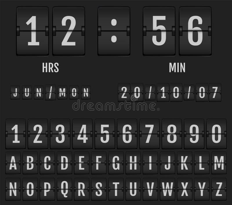Calendario y contador de tiempo del reloj de tabla del tirón ilustración del vector