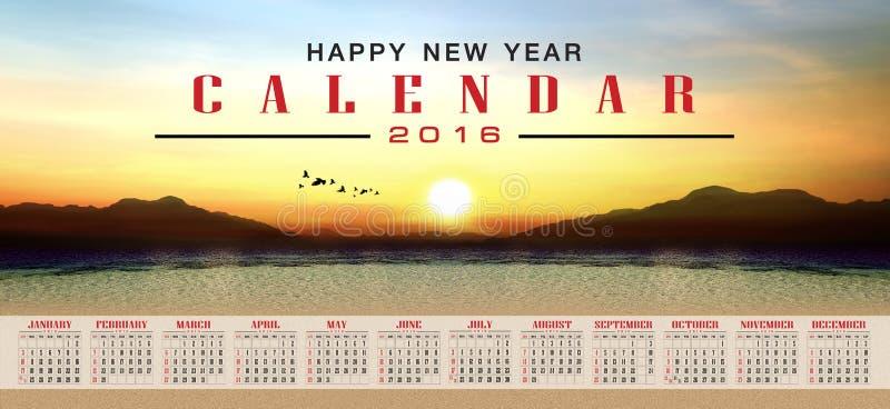 Calendario 2016 y Feliz Año Nuevo foto de archivo libre de regalías