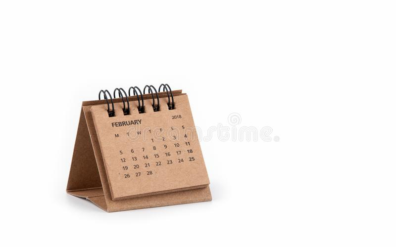 Calendario 2018 y mes de febrero en el fondo blanco fotografía de archivo