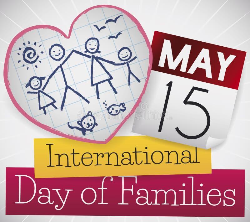 Calendario y papel con la familia que celebra el día internacional de familias, ejemplo del vector ilustración del vector