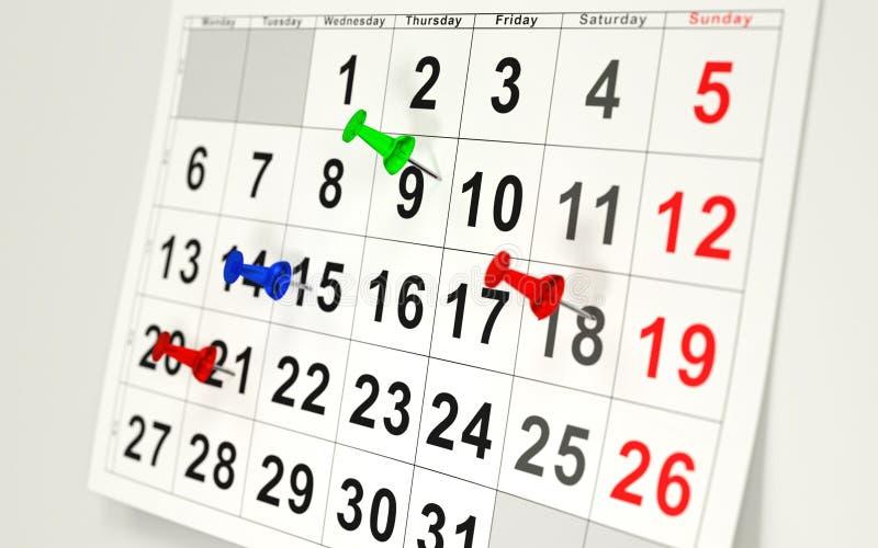 Calendario y pernos ilustración del vector