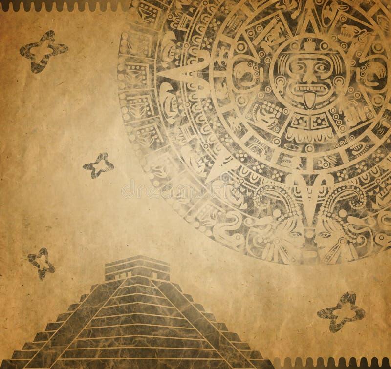 Calendario y pirámide mayas stock de ilustración