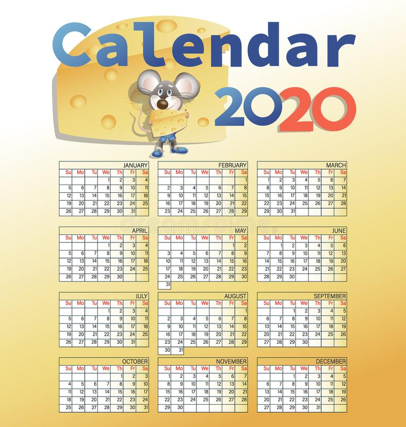 Calendario 2020 y ratón con queso libre illustration