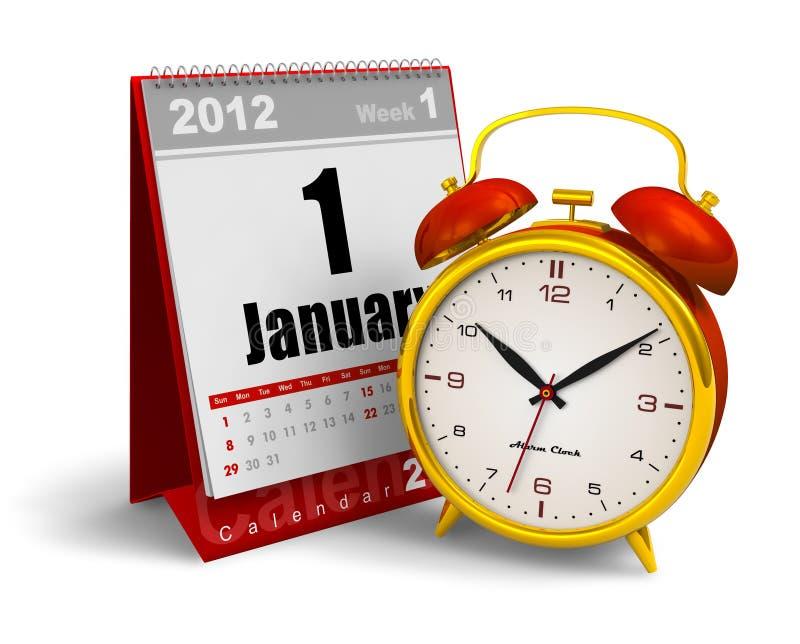Calendario y reloj de alarma de escritorio stock de ilustración