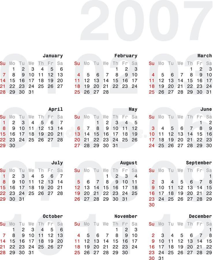 Calendario2007_2v stock illustratie