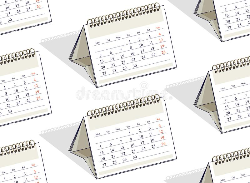 Calendars seamless background, backdrop for website. Calendars seamless background, backdrop for website, vector wallpaper or web site background stock illustration