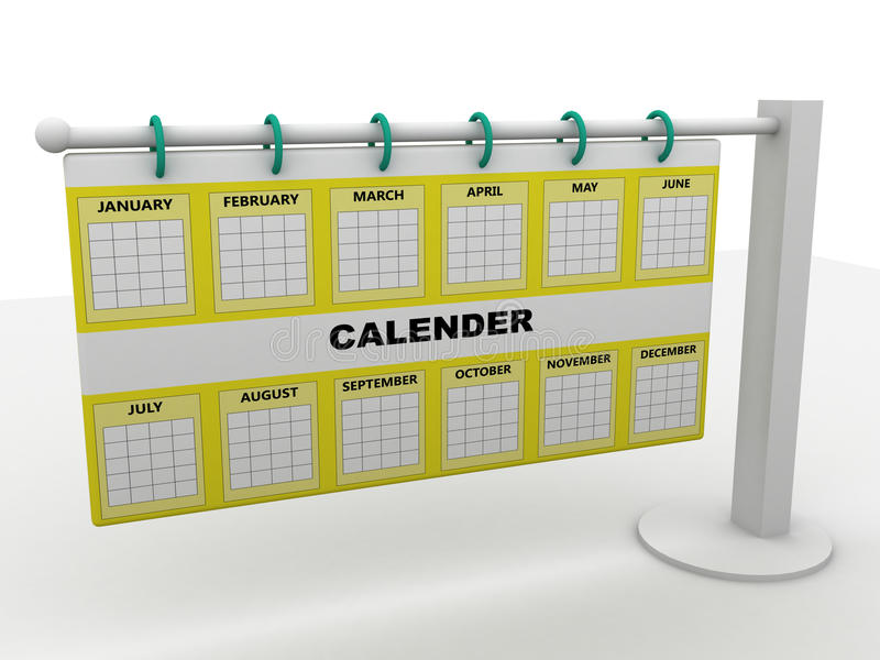 Calender. Computer rendered image of calender over white stock illustration