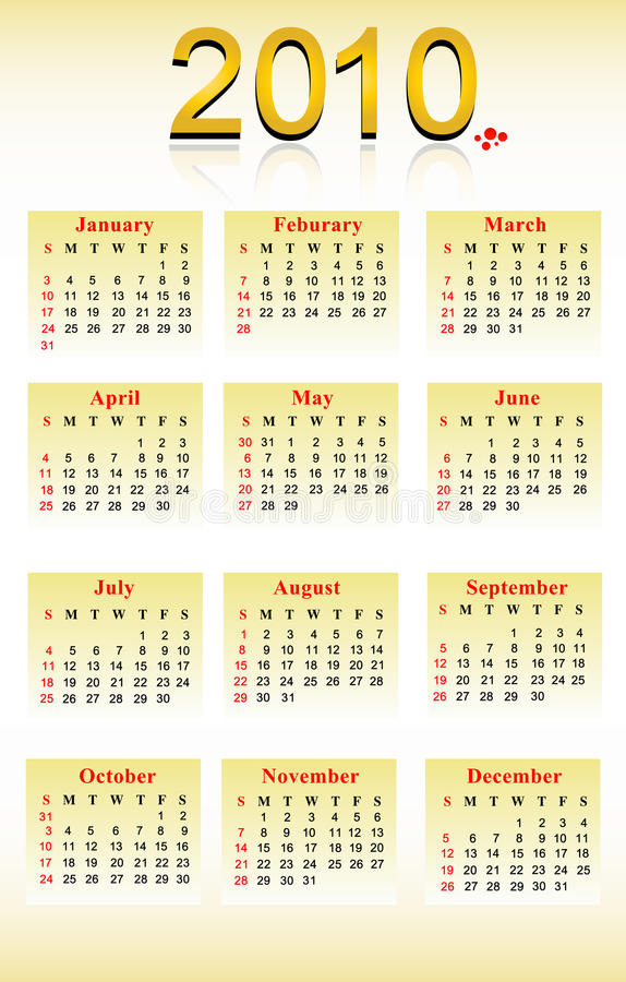 Calender. 2010 calender day month year royalty free illustration