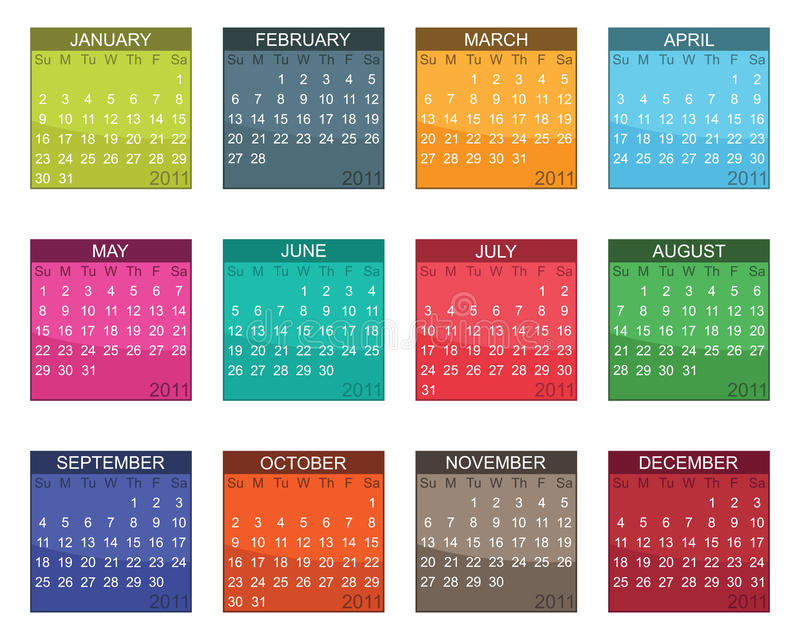 Calender for 2011. In bright colours isolated on white vector illustration