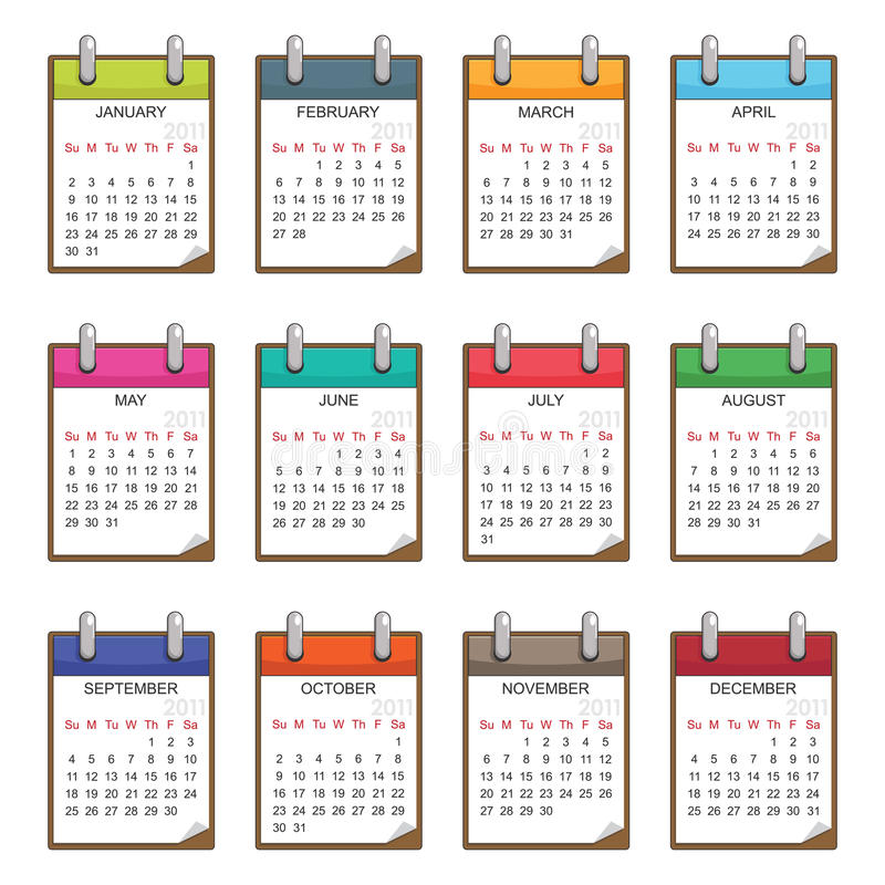 Calender for 2011. In clip board design isolated on white royalty free illustration