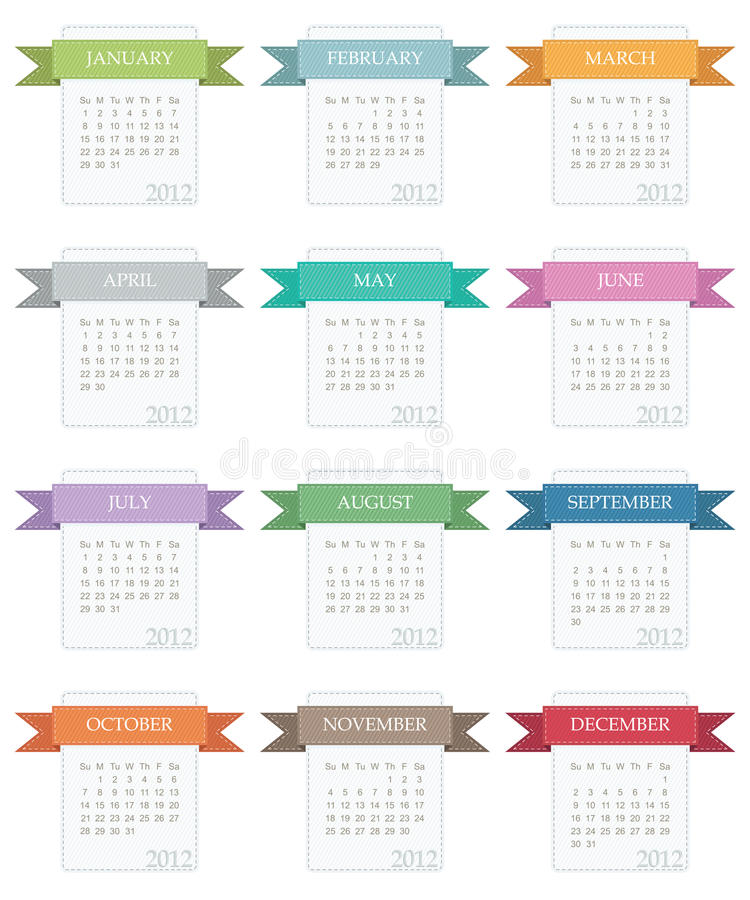Calender for 2012. In square design with ribbons isolated on white vector illustration