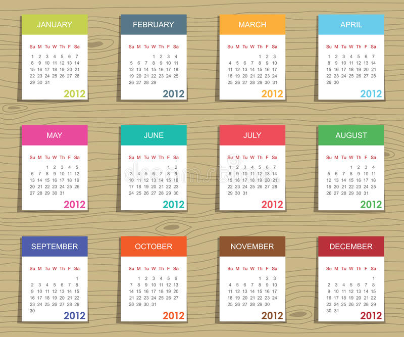 Calender for 2012. In square design on wood background stock illustration