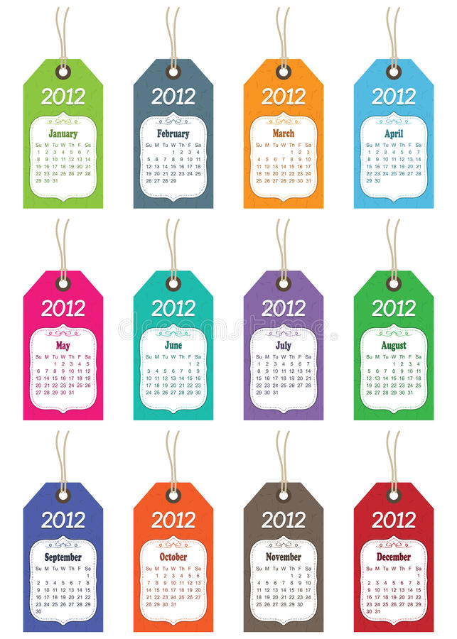 Calender for 2012. On tags isolated on white stock illustration