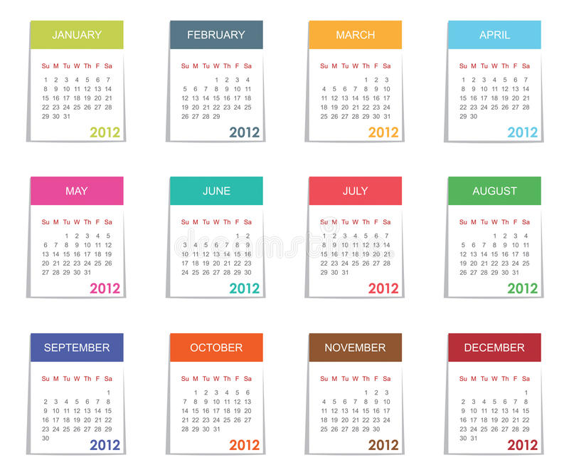 Download Calender for 2012 stock vector. Illustration of seasonal - 22977358
