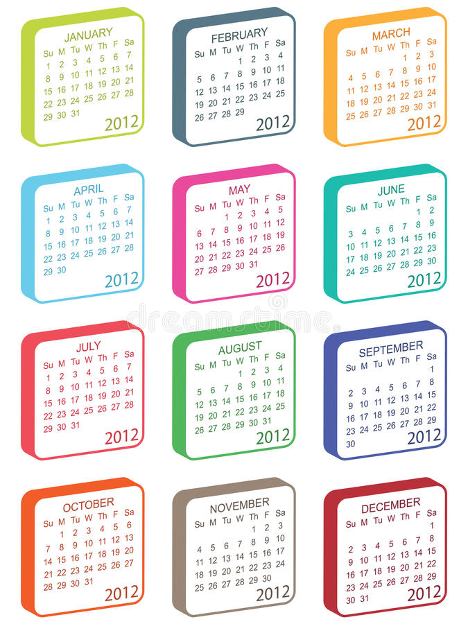 Calender for 2012. In square tile design isolated on white vector illustration