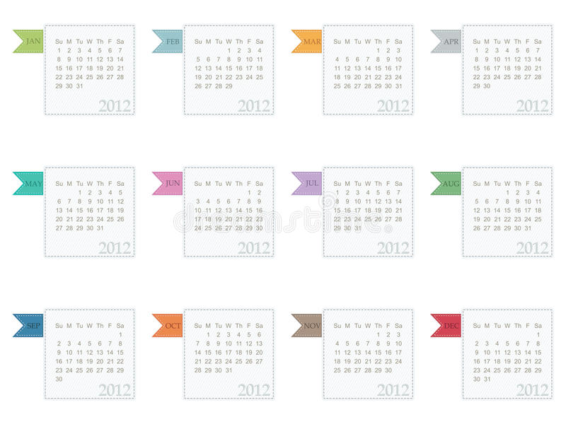 Calender for 2012. In square design with ribbons isolated on white stock illustration