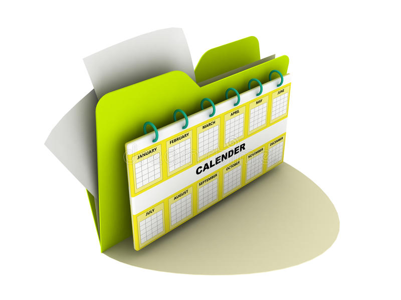 Calender icon. And folder over white stock illustration