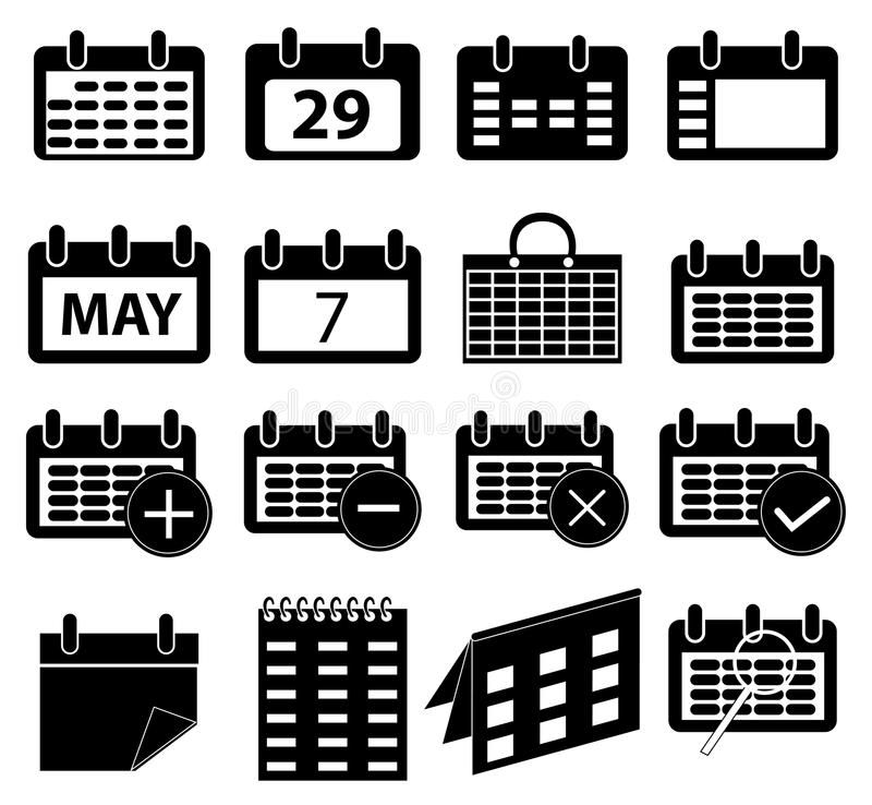 Calender icons set. In black stock illustration