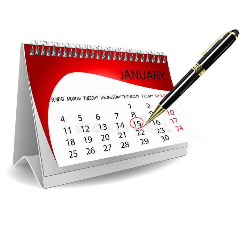 Calender with pen. Illustration of calender with pen on white background royalty free illustration