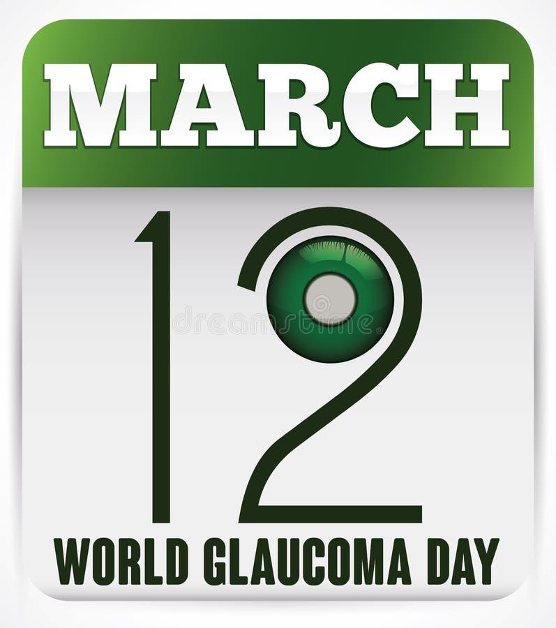 Calendrier à feuilles mobiles vert pour favoriser le jour de glaucome du monde, illustration de vecteur illustration libre de droits
