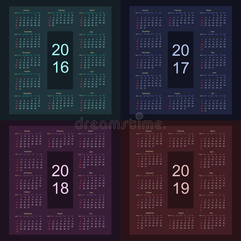 Calendrier 2016 2017 2018 2019 à partir de dimanche illustration de vecteur