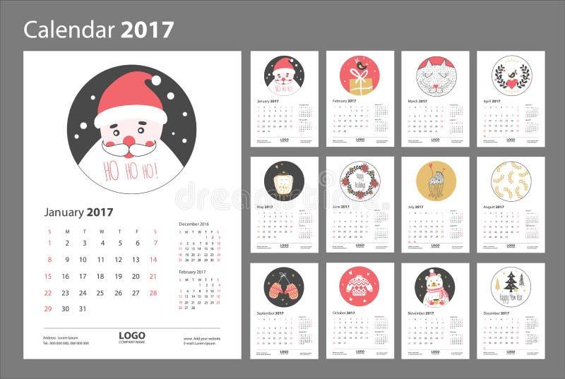 Calendrier 2017 à partir de dimanche illustration de vecteur