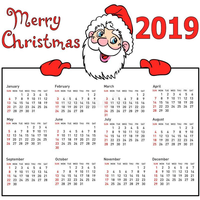 Calendrier élégant Santa Claus withmuscular pendant l'année 2019New illustration de vecteur