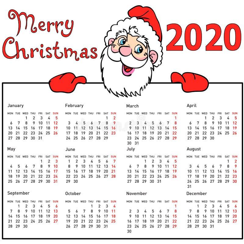 Calendrier élégant Santa Claus withmuscular pour 2020 illustration stock