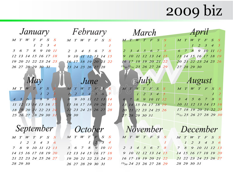 calendrier 2009 illustration stock