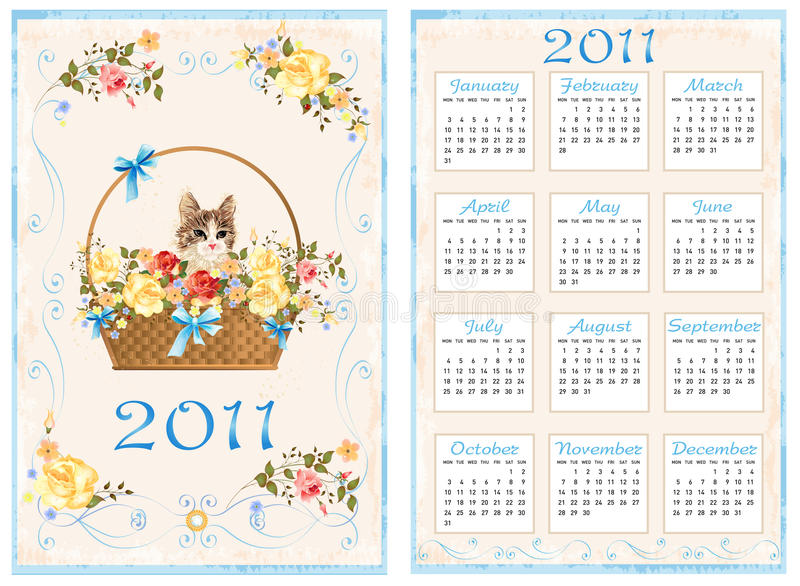 calendrier 2011 illustration stock