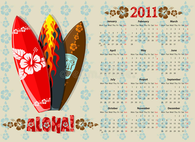 Calendrier 2011 de vecteur Aloha avec des panneaux de vague déferlante illustration de vecteur