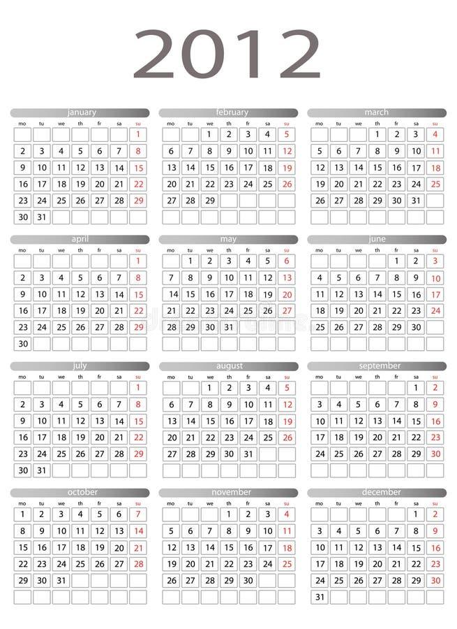 calendrier 2012 illustration libre de droits
