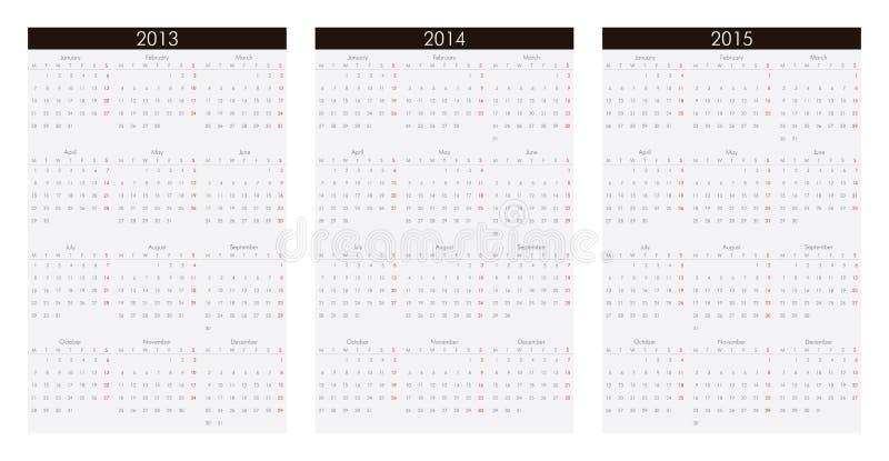 Calendrier 2013, 2014, 2015 illustration stock