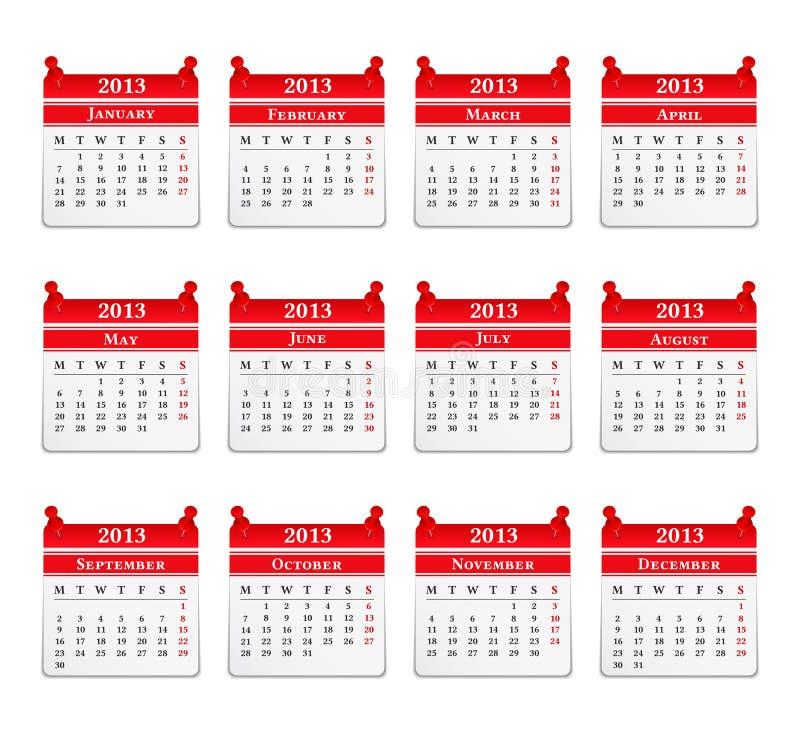 Calendrier 2013 illustration libre de droits