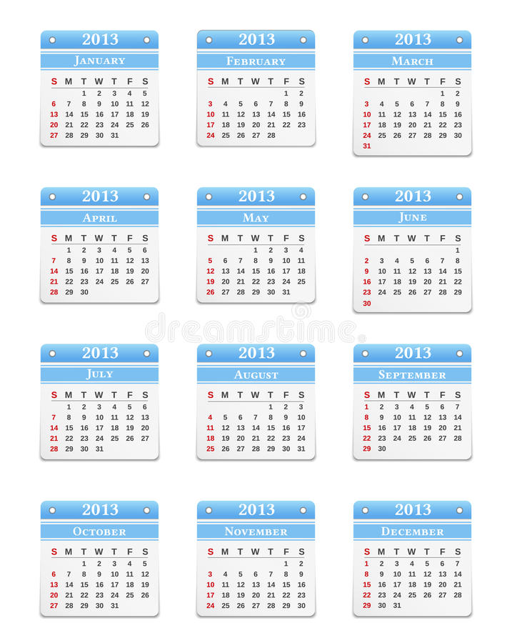 Calendrier 2013 illustration stock