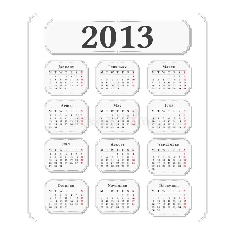Calendrier 2013 illustration de vecteur