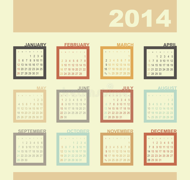 Calendrier 2014 illustration stock