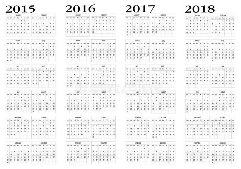 Calendrier 2015 2018 photo stock