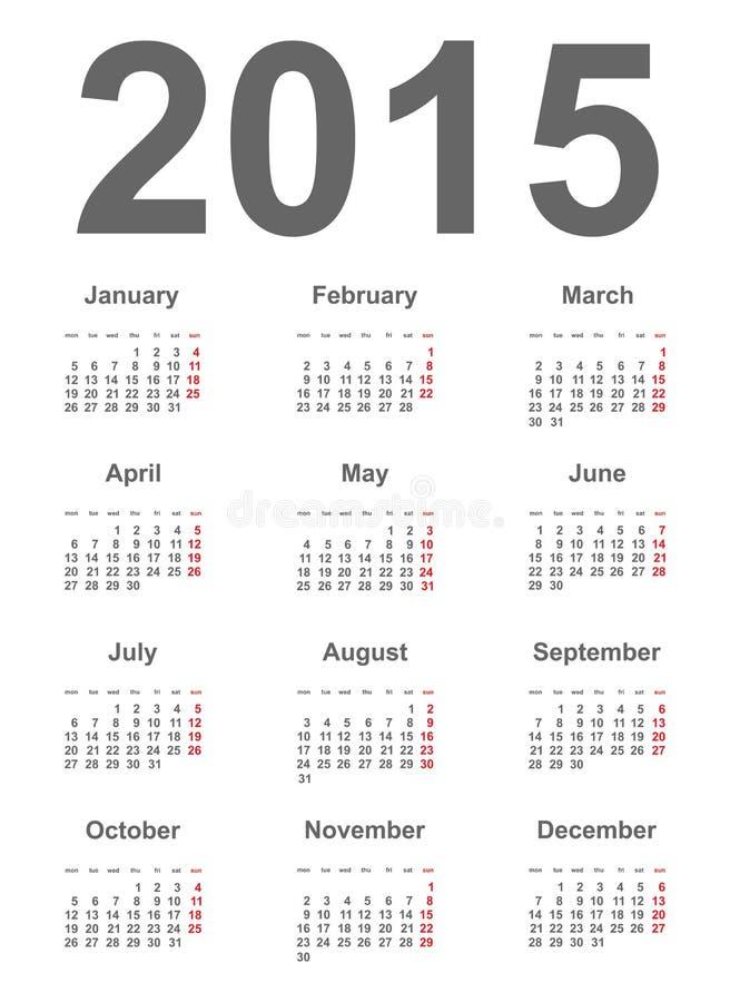 Calendrier 2015 illustration libre de droits