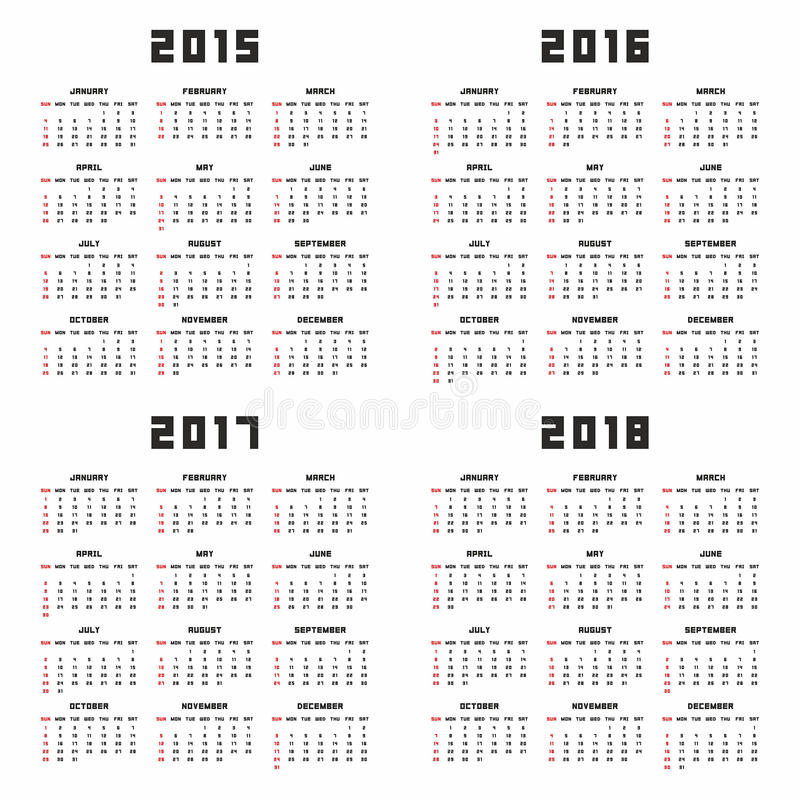 Calendrier 2015 2016 2017 2018 illustration stock