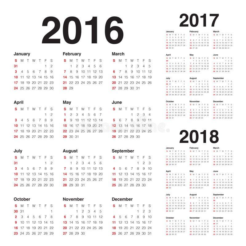 Calendrier 2016 2017 2018 illustration libre de droits