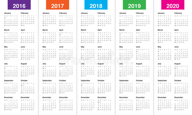Calendrier 2016 2017 2018 2019 2020 illustration de vecteur