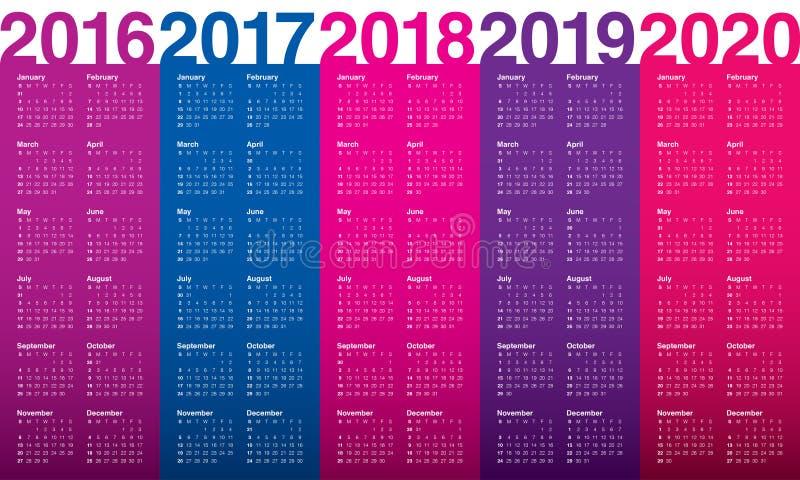 Calendrier 2016 2017 2018 2019 2020 illustration stock