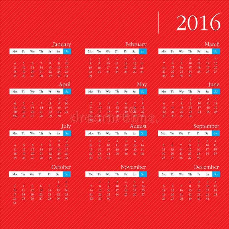 Calendrier illustration libre de droits
