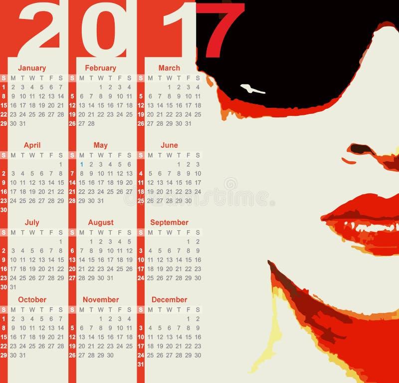 Calendrier 2017 images libres de droits