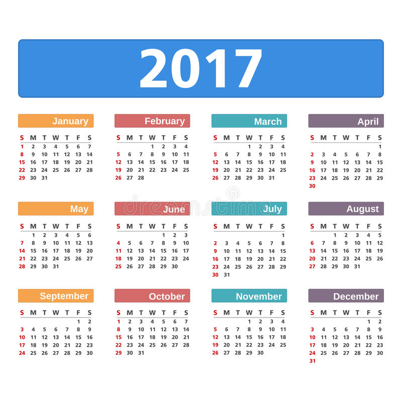 calendrier 2017 illustration de vecteur